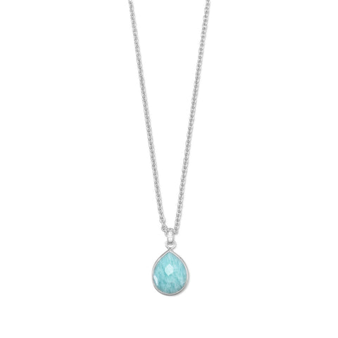 "16"" + 2"" Freeform Faceted Amazonite Pear Drop Necklace"