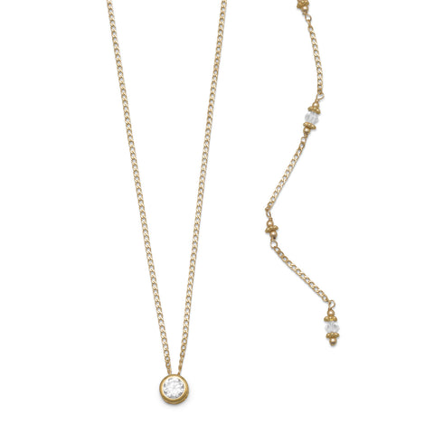 Elegant 14/20 Gold Filled CZ and Crystal Back Drop Necklace