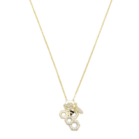 14 Karat Gold Plated and Signity CZ Bee Necklace