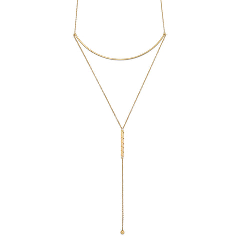 14 Karat Gold Plated Long Bar Drop Necklace