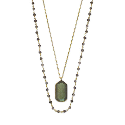 14 Karat Gold Plated Double Strand Iolite and Labradorite Necklace