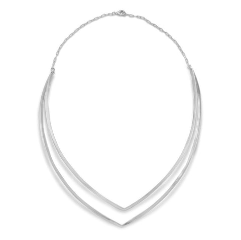 "Rhodium Plated Doube ""V"" Necklace"