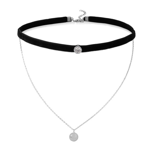 Double Strand Rhodium Plated Chain and Black Velvet CZ Choker Necklace