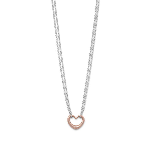 Two Tone Double Stand Open Heart Necklace