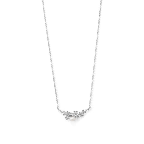 Rhodium Plated Decorative Flower and Cultured Freshwater Pearl Bar Necklace