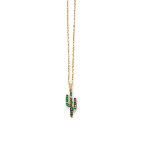 14 Karat Gold Plated CZ Saguaro Cactus Charm Necklace