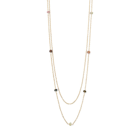 Two Strand 14 Karat Gold Plated Tourmaline Necklace