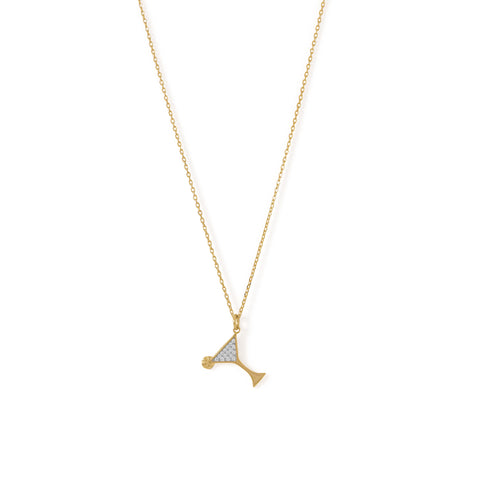 14 Karat Gold Plated CZ Martini Charm Necklace