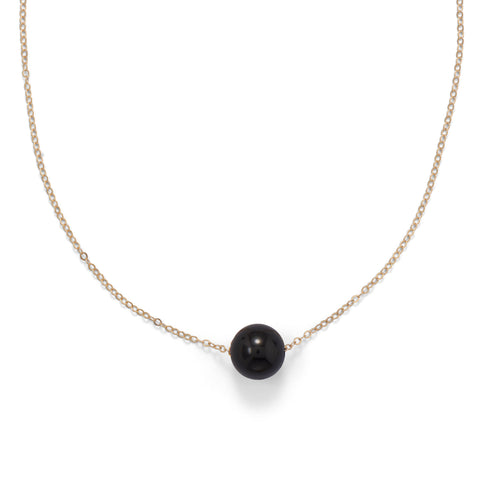 "16"" + 2"" Gold Filled Black Onyx Necklace"