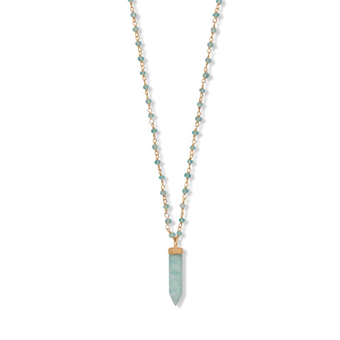"40 "" Apatite and Amazonite Necklace"