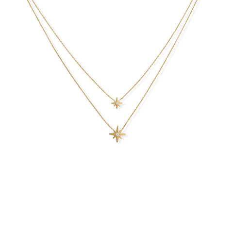 "16""/17""+2"" 14 Karat Gold Plated Two Strand CZ Star Necklace"