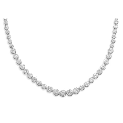 "17"" Graduated Bezel CZ Necklace"