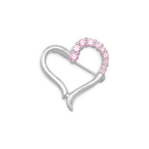 Silver Plated Brass Heart Fashion Pin with CZs