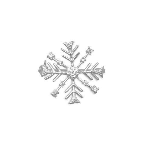 Brass Snowflake Pin with Clear CZs