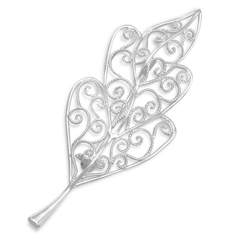 Silver Plated Brass Wire Design Leaf Pin