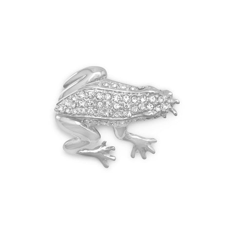 Clear Swarovski Crystal Frog Fashion Pin