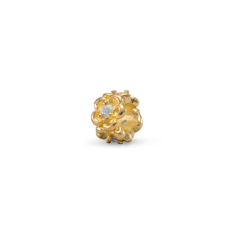 14 Karat Gold Plated Flower Bead with Crystal
