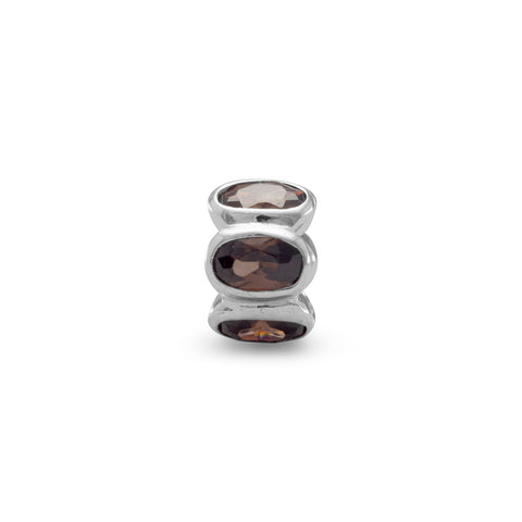Bead with Brown Oval CZs