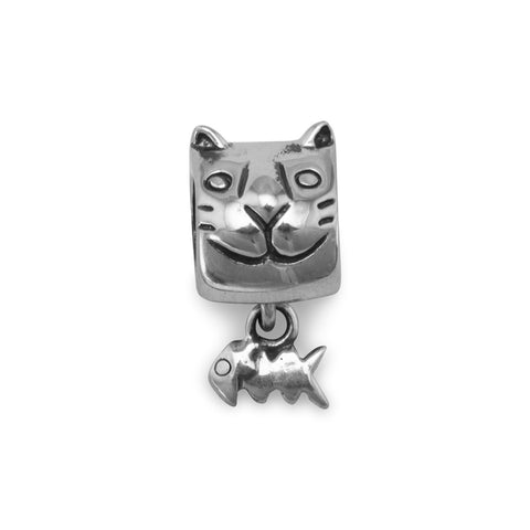 Kitty Face with Fish Bones Charm Bead
