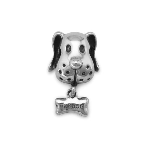 Dog Face with Bone Charm Bead