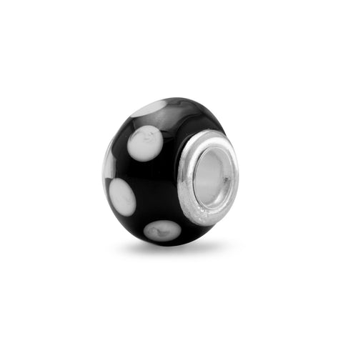 Black Glass Bead with White Dots