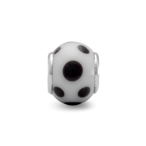White Glass Bead with Black Dots