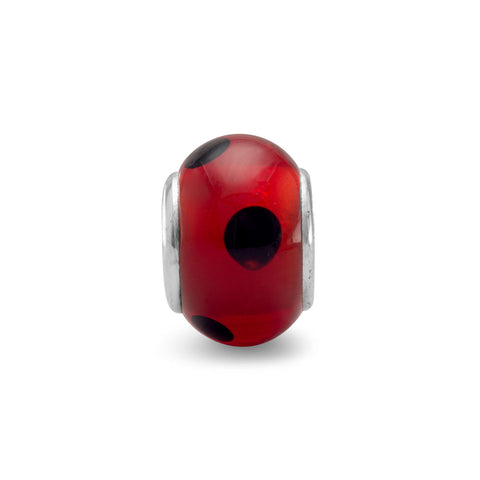 Red Glass Bead with Black Dots