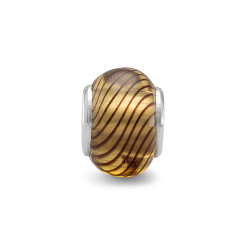 Brown Glass Bead with Black Line Design