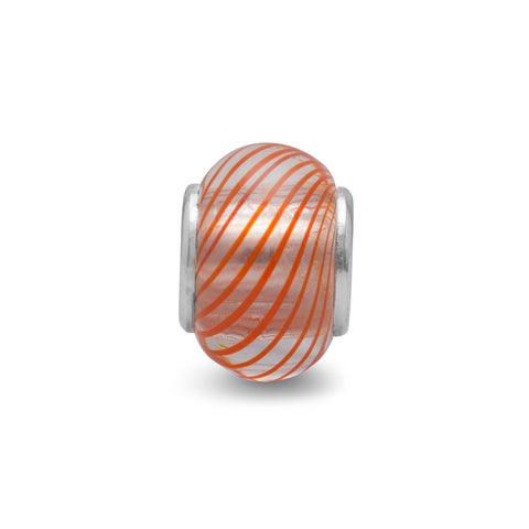 Reddish/Orange and White Lined Glass Bead