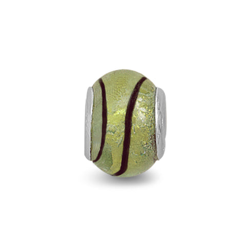 Yellow and Black Foil Glass Bead