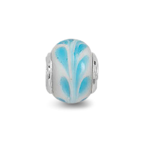White and Blue Vine Glass Bead