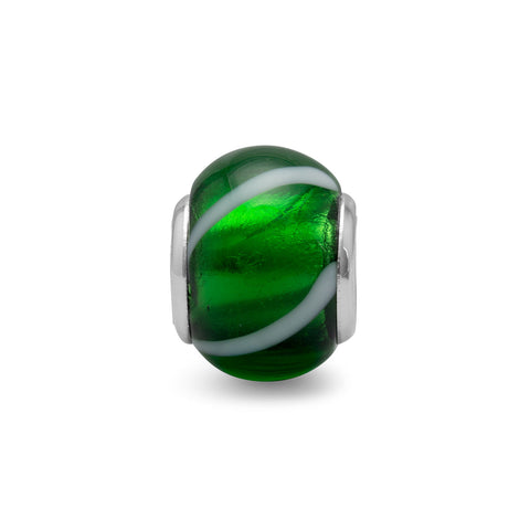 Green Glass Bead with White Line Design