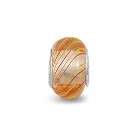 Orange, Red and White Glass Bead