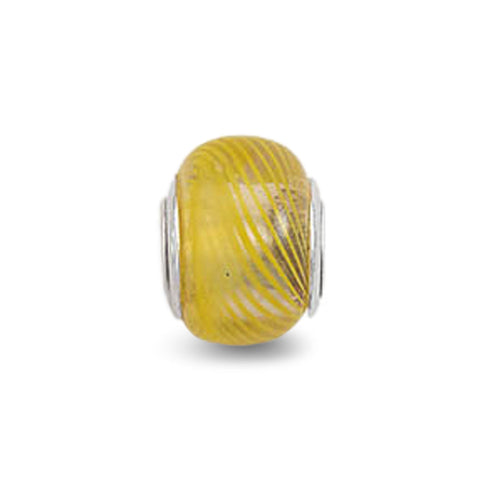 Glass Bead with Yellow Line Design