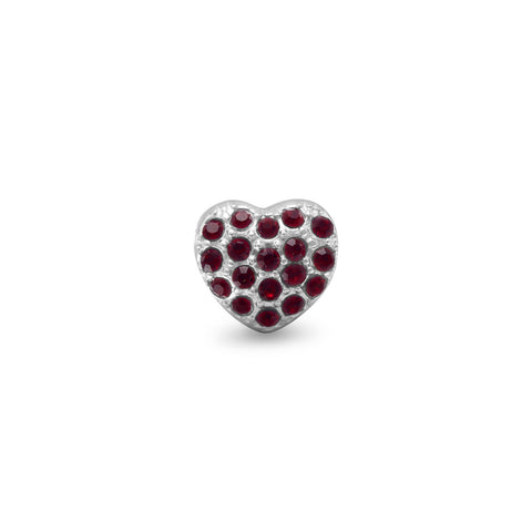 Red Crystal Heart Bead