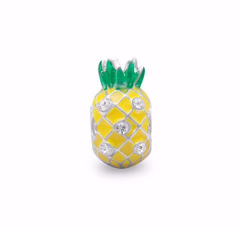 Yellow Pineapple Bead with Crystal