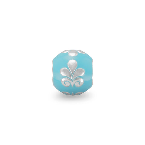 Blue Bead with Floral Design