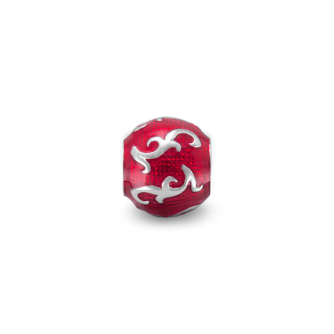 Red Enamel Bead with Vine Design