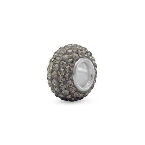 Grey Pave Crystal Bead