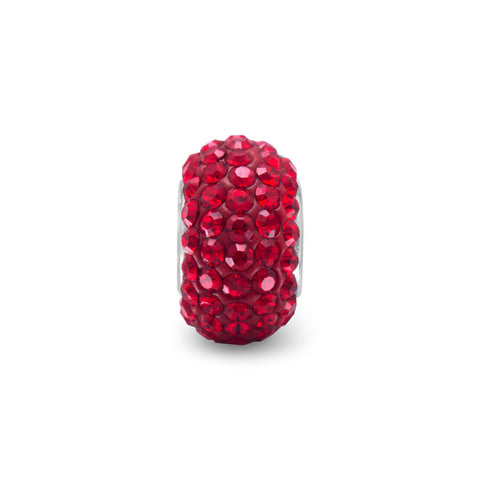 Red Pave Crystal Bead