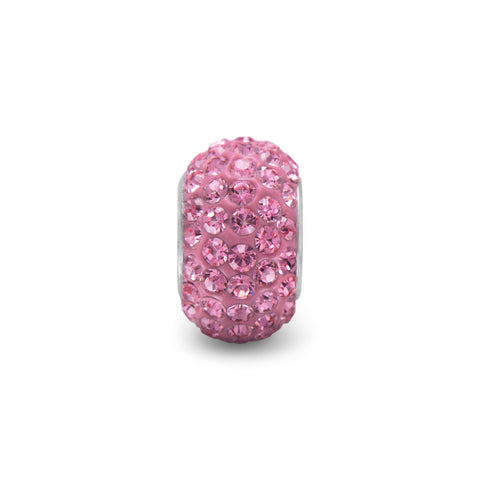 Pink Pave Crystal Bead