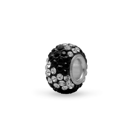 Black and Clear Pave Crystal Bead