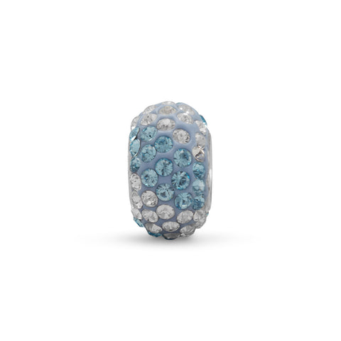 Blue and Clear Pave Crystal Bead