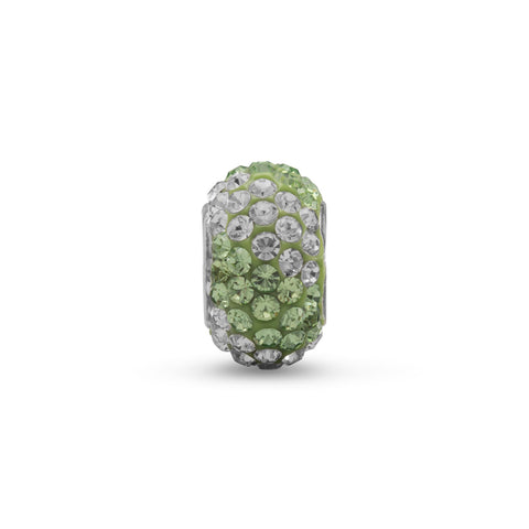 Green and Clear Pave Crystal Bead