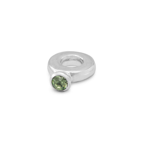 Ring Bead with Light Green Crystal