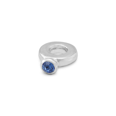 Ring Bead with Dark Blue Crystal