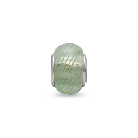 Clear Glass Bead with Green Lines
