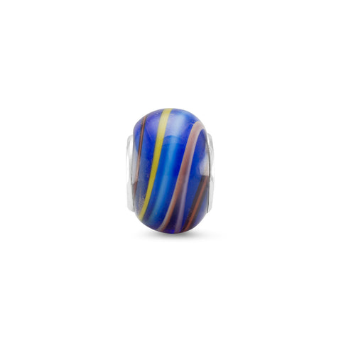 Multicolored Lined Glass Bead