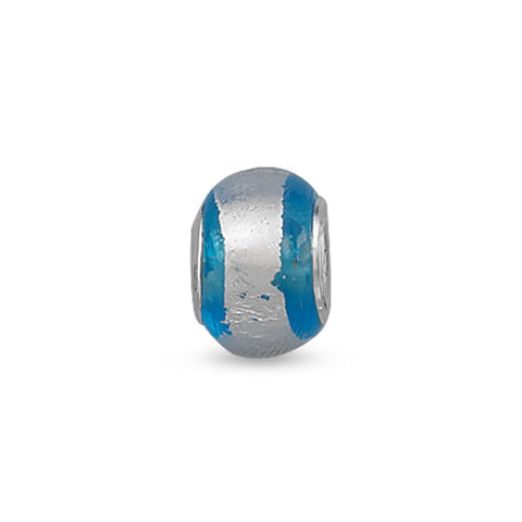 Silver Foil and Blue Glass Bead