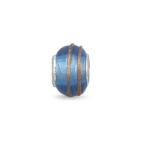 Blue and Gold Glass Bead